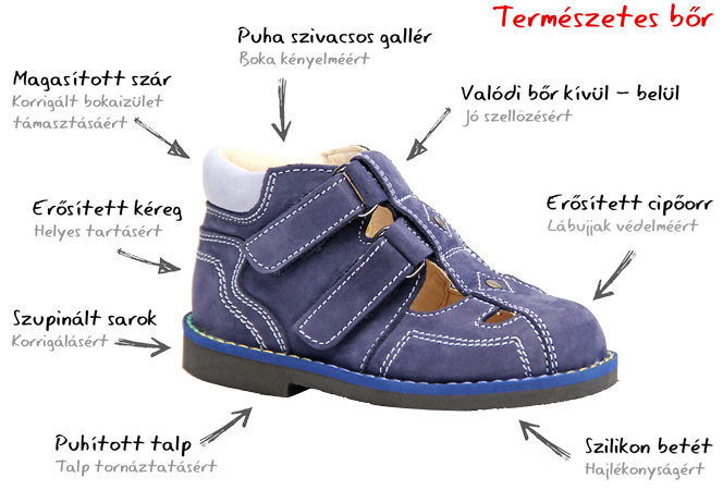 Salus supinált cipő felépítése