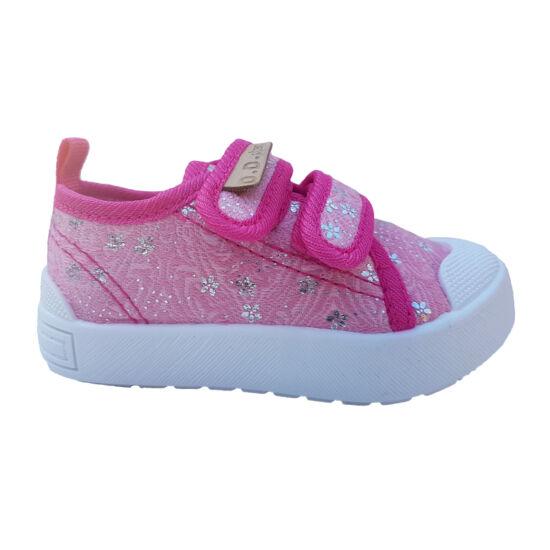 50a726bc27 2 tépőzáras, csillogó virágos pink D.D.Step benti ovis cipő - vászoncipő