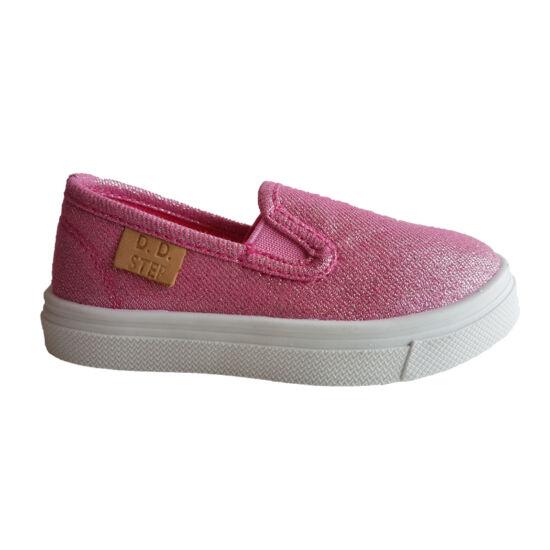 Pink metál DD Step kislány vászoncipő