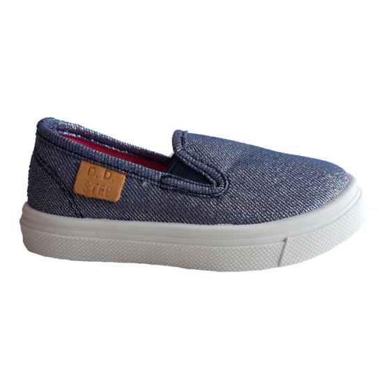 Metál kék DD Step kislány vászoncipő