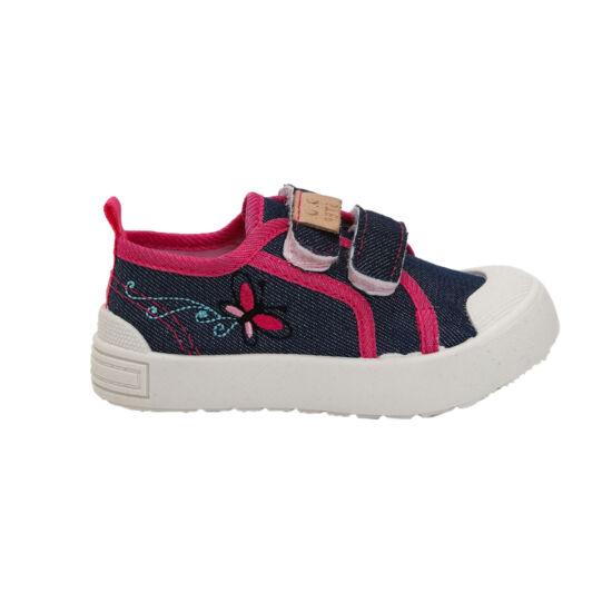 Sötétkék pillangós DD Step kislány vászoncipő, benti ovis cipő