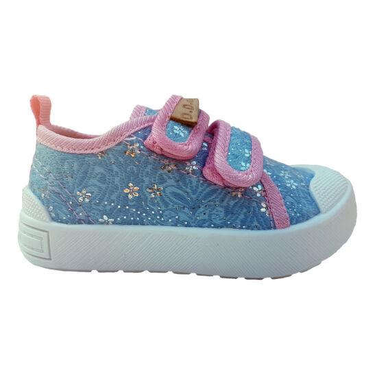Ég kék , pink, csillogós virágos DD Step kislány vászoncipő, benti ovis cipő
