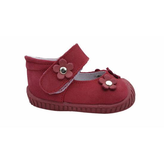 Első lépés cipő Maus málna színben, virágokkal