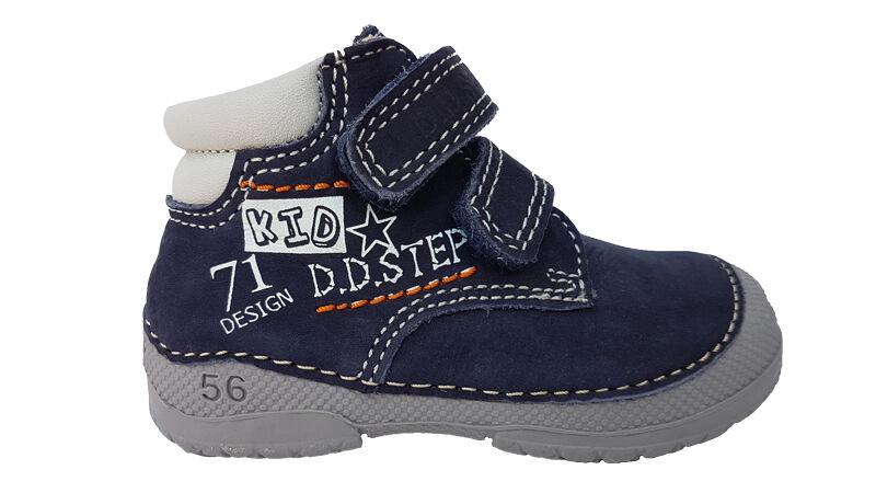 Farmerkék narancs, bőr betétes, D.D.Step vászoncipő